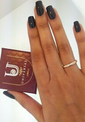 14k Solid Rose Gold Diamond Eternity Band Stackable Ring Endless Wedding Band