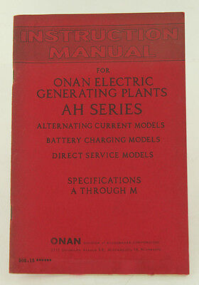 Vintage Onan Ah Series Electric Generator Instruction Manual