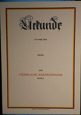 Bundeswehr:Urkunde: Förmliche  Anerkennung  A4