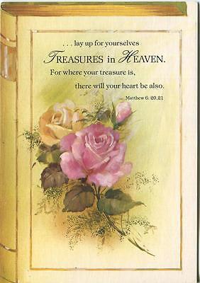 VINTAGE PINK YELLOW GARDEN ROSES SCRIPTURE VERSE TREASURE IN HEAVEN CARD PRINT](Treasure Bible Verse)