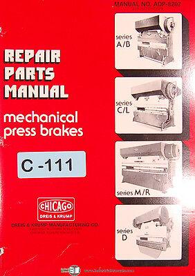 Chicago Dries Krump Ab Cl Me D Mechanical Press Brake Repair Parts Manual