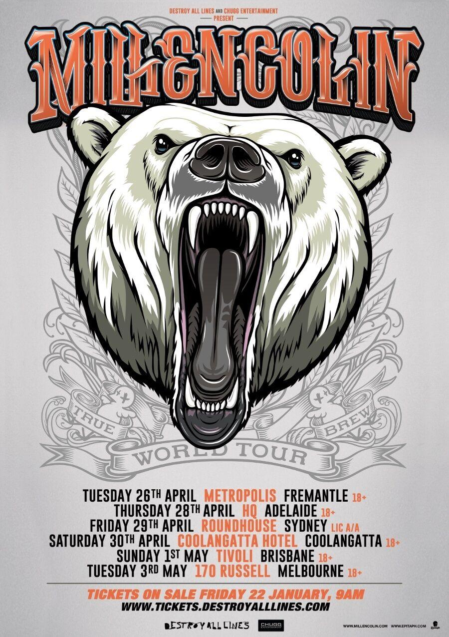 MILLENCOLIN WORLD TOUR 2016 AUSTRALIAN CONCERT POSTER - Punk Rock, Skate Punk - $10.99