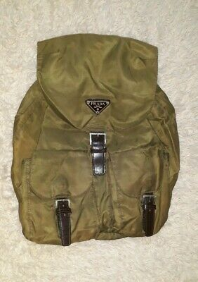 PRADA Authentic Mini Backpack Bag Nylon Vela Army Green Vintage 90s