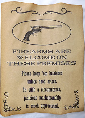 Firearms Welcome on Premises Poster, old west, western, wanted, guns, sign - Western Wanted Sign