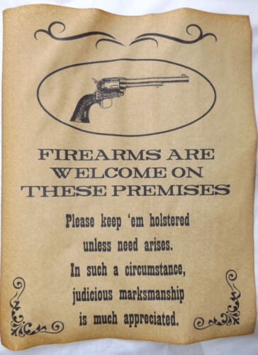Firearms Welcome on Premises Poster, old west, western, wanted, guns, sign