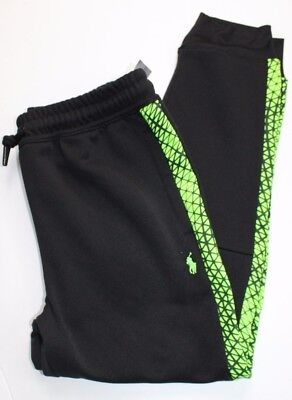 Polo Ralph Lauren Black Athletic Jogger Sweatpants Young Sz M Green Pony NWT