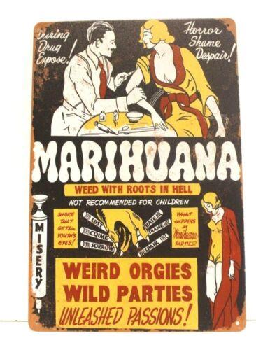 New Marijuana Tin Metal Poster Sign Bar Vintage Retro Ad Style Marihuana Pot