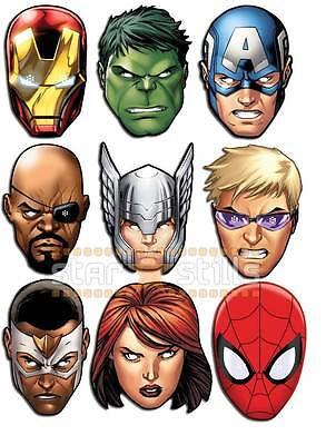 Marvel THE AVENGERS Card Party Face Masks ULTIMATE SET of 9 Iron Man Hulk - Ultimate Iron Man Costume