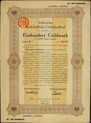 Breslau Schlesien Landschaftlicher Goldpfandbrief 100 Goldmark 1925 uncancelled