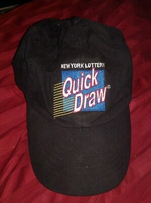 Vintage New York Lottery Quick Draw Adjustible Strap Hat Cap Ny State Rare Htf