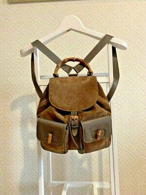 Gucci Vintage Backpack Rucksack Suede Bamboo Leather Drawstring Bucket Hand Bag