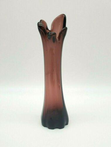 """Vintage Viking? Five Finger Amethyst Swung Art Glass Bud Vase 9 3/4"""" T"""
