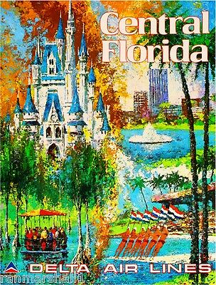 Central Florida United States of America Vintage Travel Advertisement Poster