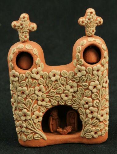 Ceramic Sm. Church w Bells/Nativity Scene Mexican Fine Folk Art Filigree Details