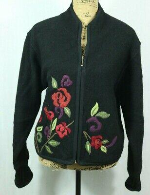 Women's Icelandic Design 100% Wool Jacket Medium Full Zip Lined Embroidered Wool Women Jacket