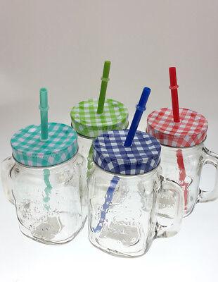 12 er Trinkglas mit Deckel und Strohhalm 500 ml Trinkgläser Vintage Trinkbecher