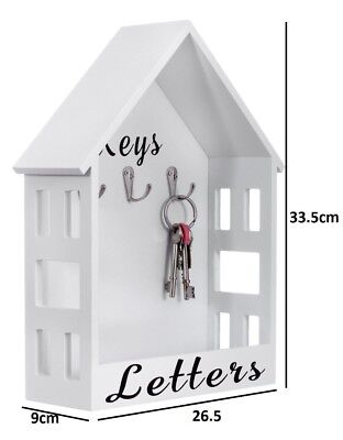 LETTER RACK HOLDER WITH KEY HOOK HANGER HOLDER WHITE