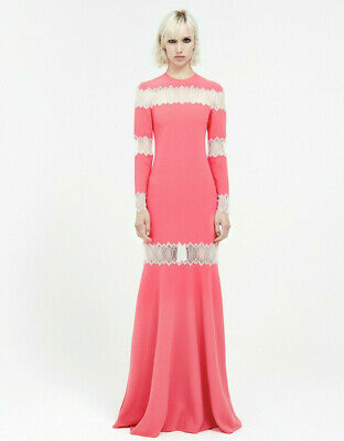 HUISHAN ZHANG $1755 cut out lace bubblegum pink gown full length maxi dress NEW