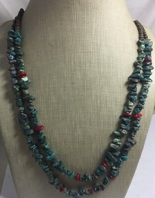 Multi-strands old rustic turquoise nuggets/ coral necklace/(g266-w2)