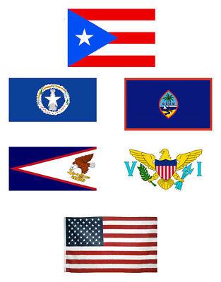 3x5 Us Territorien Vereinigte Staaten 6 Packung Flagge Großhandel Set Combo