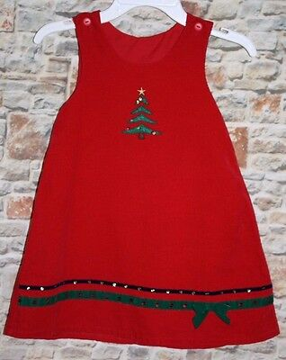 Christmas Tree GIRLS 4 Jumper Dress Holiday Red Corduroy Green Sequin Bow Trim