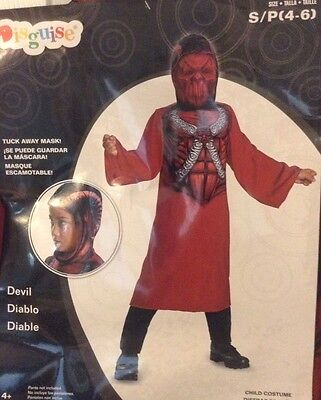 Devil Costume Robe Or Cloak W/ Hood & Hide Away Mask Boys Sz S 4 - 6 Brand New (Devil Costume For Boys)