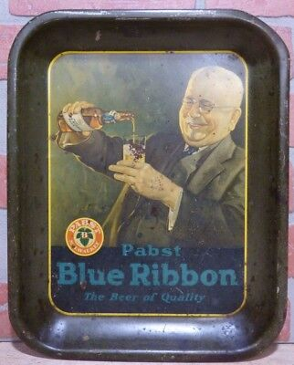 Antique PABST BLUE RIBBON The Beer of Quality Tray Amer Can Co Chicago litho USA