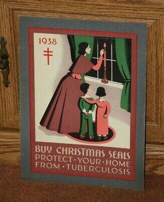 VTG 1938 Buy Christmas Seals- Protect Your Home from Tuberculosis Gover Poster.
