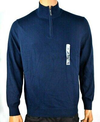 Nautica Men Sweater New L Navy Blue Solid Long Sleeve Mock Neck 1/4 zip Pullover