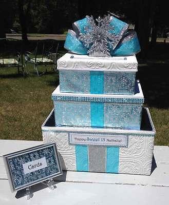 Quinceanera,Sweet 16,Card Box,Winter Wonderland,Paper,Blue,Fairy Tale,Fabric - Sweet 16 Winter Wonderland