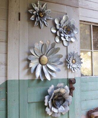Set of 5 Galvanized Metal Flower Wall Hanging Sculptures Indoor Outdoor Decor