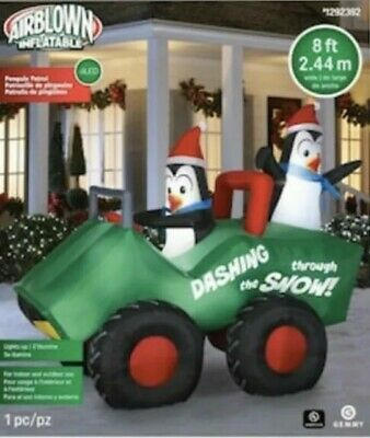 Christmas Inflatables Outdoor (8FT Inflatable Christmas Penguins Patrol on a Four Wheeler Outdoor Yard)