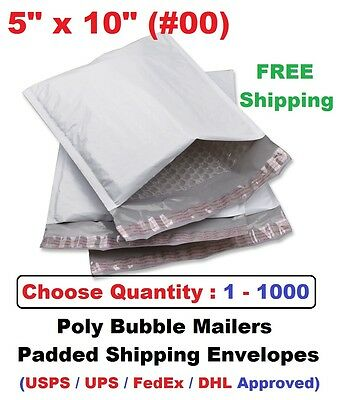 00 5x10 Poly Bubble Mailers Padded Shipping Envelopes Self Sealing Bags 1 -1000