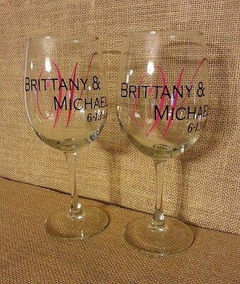 Custom Wine Glasses (Customized Personalized Monogram Wine Glass Wedding Birthday Anniversary Gift)