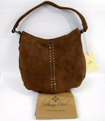 Patricia Nash Bello Hobo Bag Cognac Burnished Suede Leather Brown Large NWT $199 Burnished Cognac