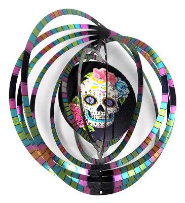 WorldaWhirl Whirligig 3D Skull Flower Wind Spinner Stainless Kinetic Twister](Flower Wind Spinner)