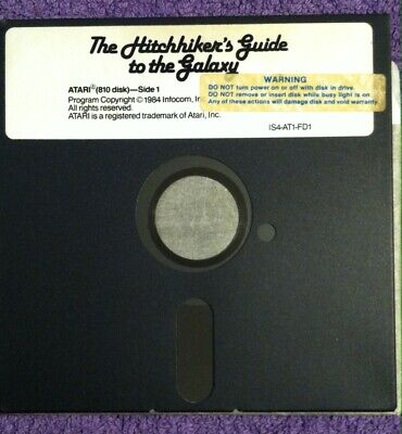 1984 Game 🔥ATARI 810🔥 Infocom The Hitch Hiker's Guide to the Galaxy DISK ONLY