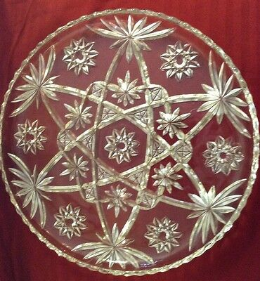 (Vintage Anchor Hocking Star Of David Crystal 1940's To 1960's Serving Cake Plate)