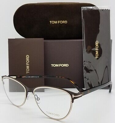 NEW Tom Ford RX Prescription Glasses Brown Metal Tortoise FT5420 049 52 Cat (Tom Ford Cat Eye Prescription Glasses)