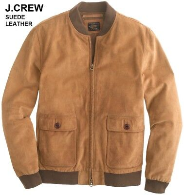 New J.CREW suede leather jacket coat tan brown beige bomber classic slim XS NWT