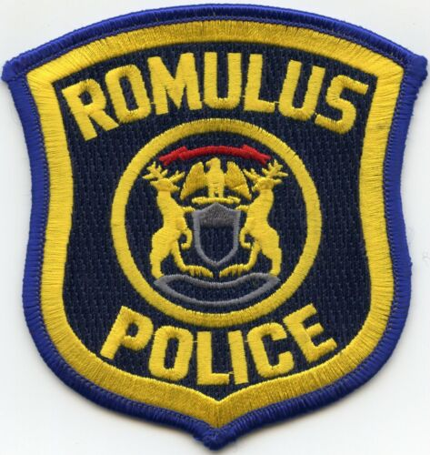 ROMULUS MICHIGAN MI Blue Border - Yellow Letter POLICE PATCH