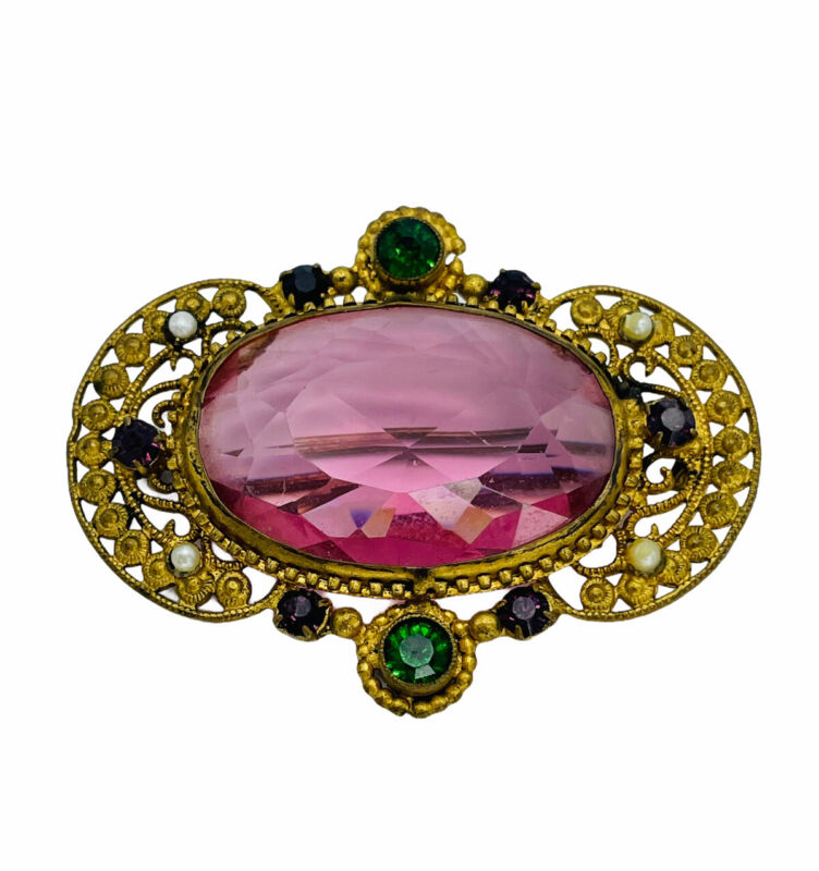 """Victorian Brooch w Pink Glass Center, Colored Gems & Pearls Gold-tone """"C"""" Clasp"""