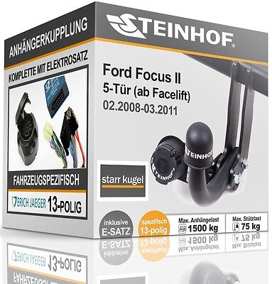 Für Ford Focus Turnier 03 spezifisch E-SATZ Anhängerkupplung abnehmbar AHK