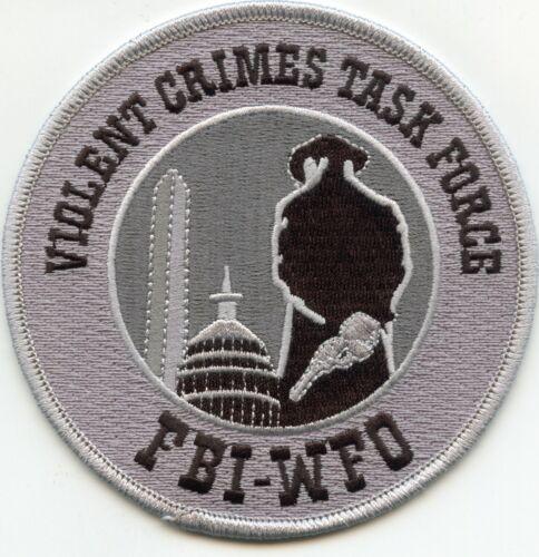 FBI WASHINGTON DC VIOLENT CRIMES TASK FORCE gray background POLICE PATCH