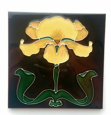 Art Nouveau Reproduction Antique Fireplace Tile Tubelined VTG Stovax Iris Flower