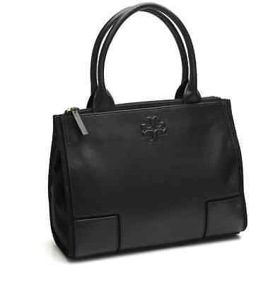 NWT Tory Burch Ella Mini Leather Canvas Tote Handbag Computer Padded Black $250
