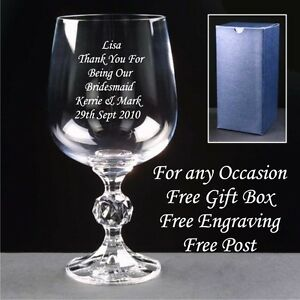 Personalised Large Quality Crystal  Wine Glass Engraved Christmas Xmas Gifts