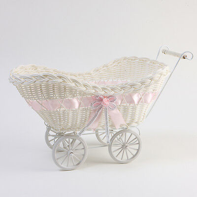 PINK WICKER HAMPER PRAM BASKET GIRL BABY SHOWER CHRISTENING GIFTS STORAGE