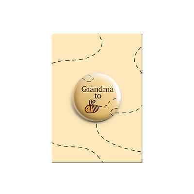 Grandma to be Bumble Bee Cute Baby Shower Announcement Gift Button Pin Badge38mm](Grandma To Be Pin)