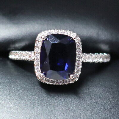 Sparkling Princess Blue Sapphire Ring Women Engagement Jewelry 14K Gold Plated Princess Blue Sapphire Ring